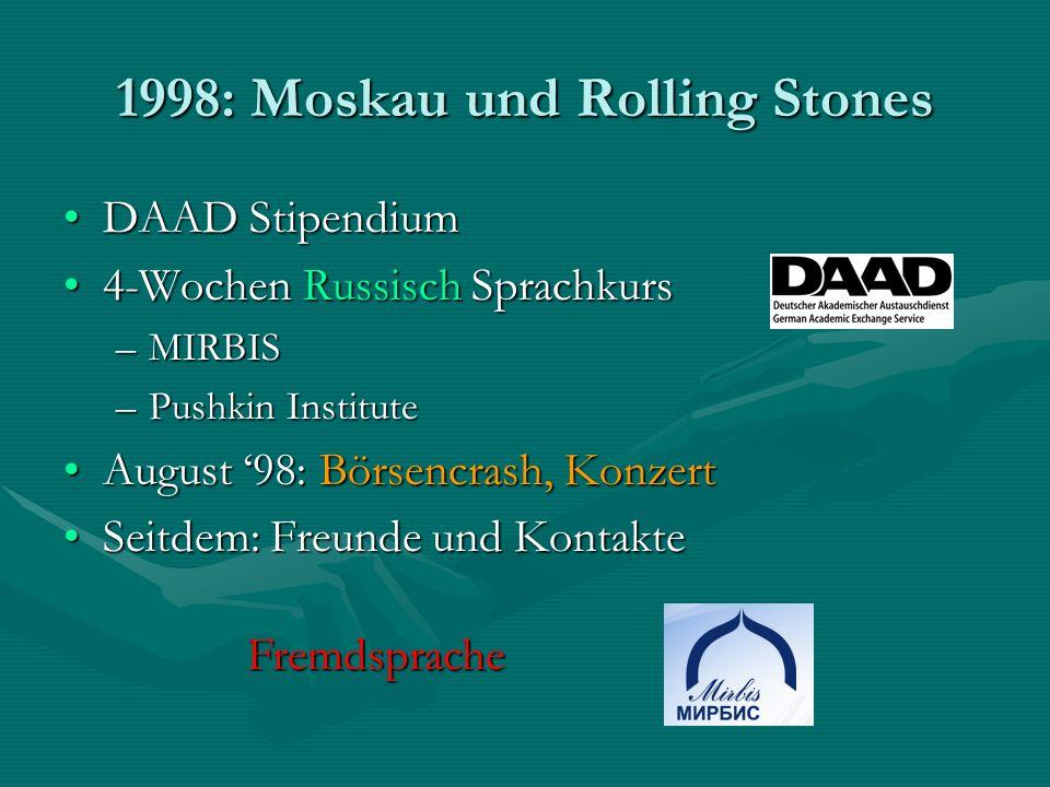 1998: Moskau und Rolling Stones DAAD StipendiumDAAD Stipendium 4-Wochen Russisch Sprachkurs4-Wochen Russisch Sprachkurs –MIRBIS –Pushkin Institute Aug