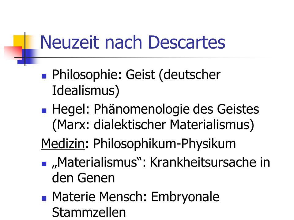 Neuzeit nach Descartes Philosophie: Geist (deutscher Idealismus) Hegel: Phänomenologie des Geistes (Marx: dialektischer Materialismus) Medizin: Philos