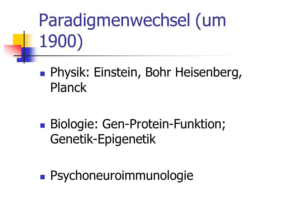 Paradigmenwechsel (um 1900) Physik: Einstein, Bohr Heisenberg, Planck Biologie: Gen-Protein-Funktion; Genetik-Epigenetik Psychoneuroimmunologie
