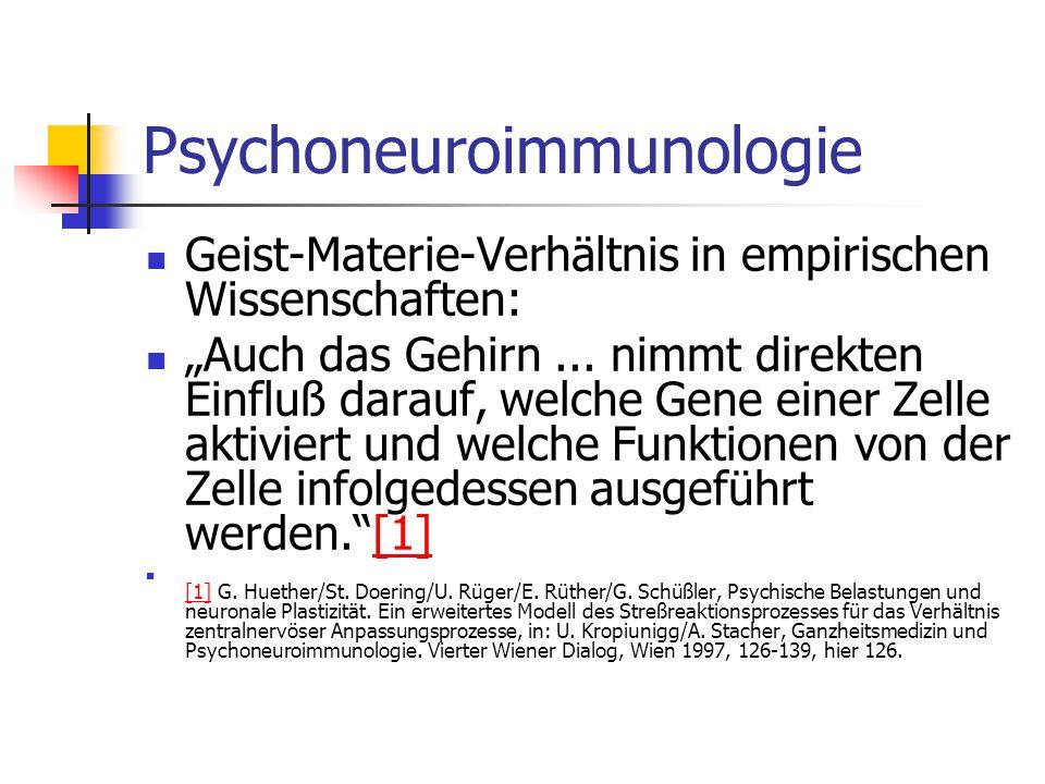 Psychoneuroimmunologie Geist-Materie-Verhältnis in empirischen Wissenschaften: Auch das Gehirn... nimmt direkten Einfluß darauf, welche Gene einer Zel