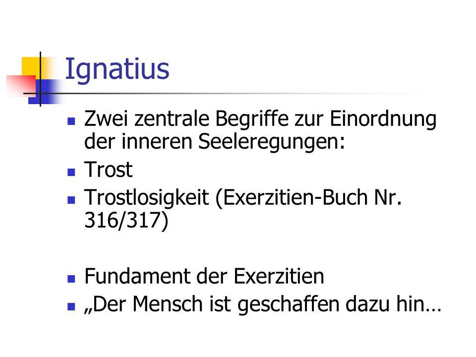 Ignatius Zwei zentrale Begriffe zur Einordnung der inneren Seeleregungen: Trost Trostlosigkeit (Exerzitien-Buch Nr. 316/317) Fundament der Exerzitien