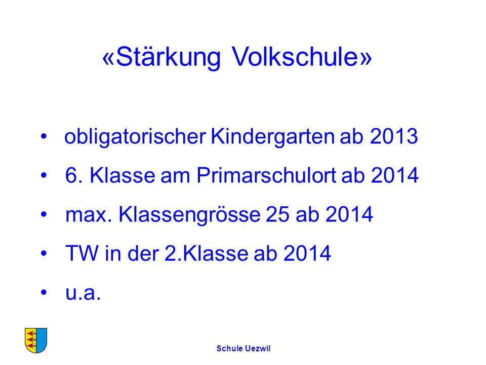 Schule Uezwil «Stärkung Volkschule» obligatorischer Kindergarten ab 2013 6.