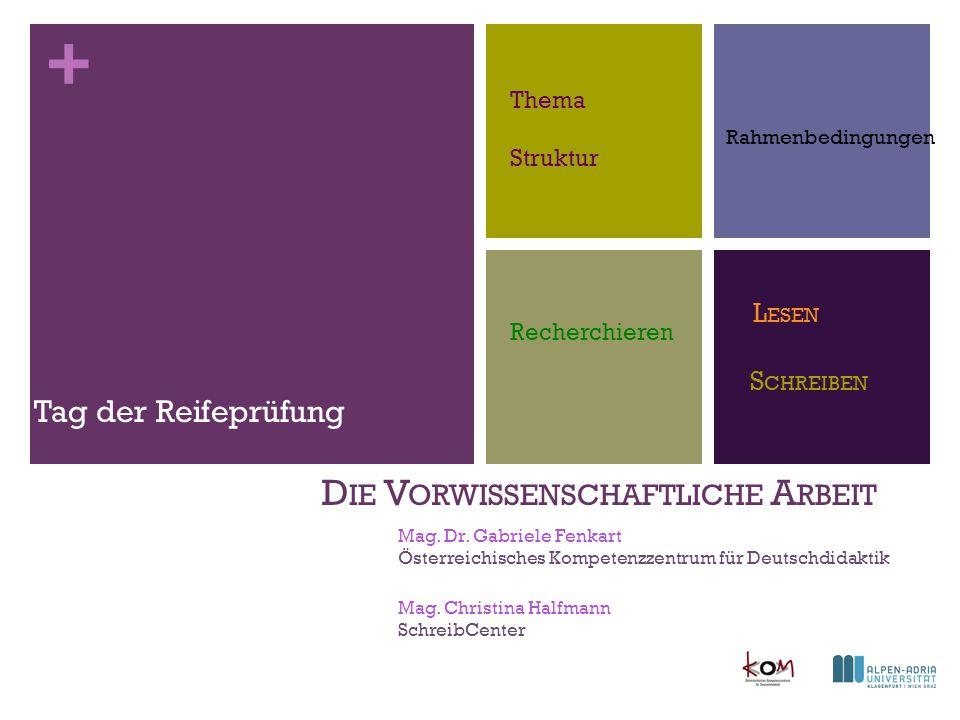 + Ablauf I.Der Rahmen: VWA Kompetenzen in allen Fächern II.