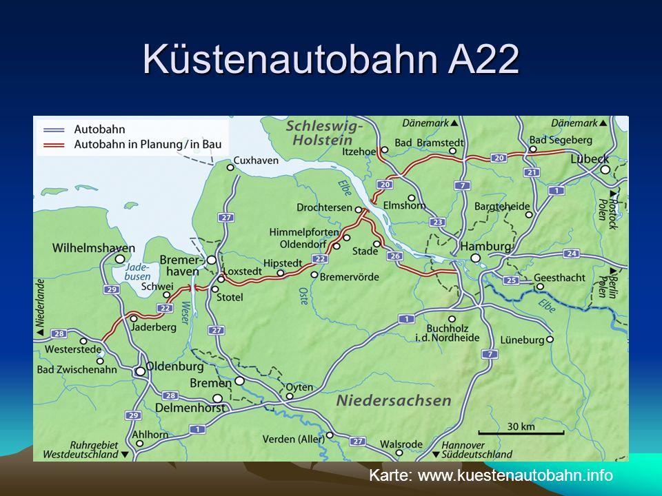 Küstenautobahn A22 Karte: www.kuestenautobahn.info