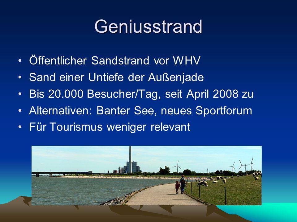 Geniusstrand Öffentlicher Sandstrand vor WHV Sand einer Untiefe der Außenjade Bis 20.000 Besucher/Tag, seit April 2008 zu Alternativen: Banter See, neues Sportforum Für Tourismus weniger relevant