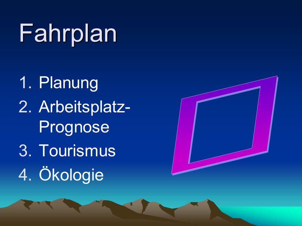 Fahrplan 1.Planung 2.Arbeitsplatz- Prognose 3.Tourismus 4.Ökologie