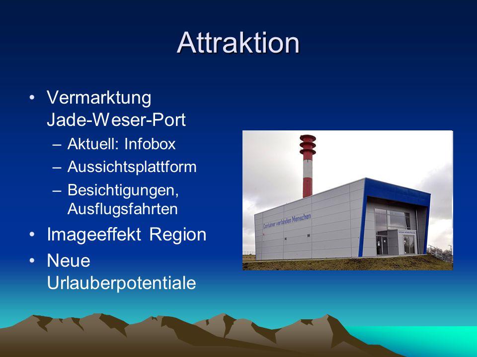 Attraktion Vermarktung Jade-Weser-Port –Aktuell: Infobox –Aussichtsplattform –Besichtigungen, Ausflugsfahrten Imageeffekt Region Neue Urlauberpotentia