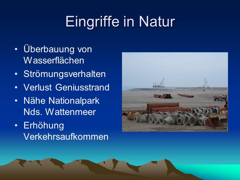 Eingriffe in Natur Überbauung von Wasserflächen Strömungsverhalten Verlust Geniusstrand Nähe Nationalpark Nds. Wattenmeer Erhöhung Verkehrsaufkommen