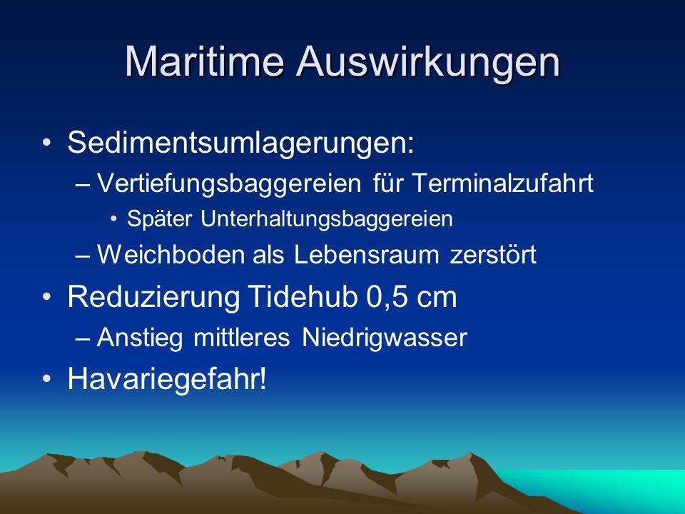 Maritime Auswirkungen Sedimentsumlagerungen: –Vertiefungsbaggereien für Terminalzufahrt Später Unterhaltungsbaggereien –Weichboden als Lebensraum zerstört Reduzierung Tidehub 0,5 cm –Anstieg mittleres Niedrigwasser Havariegefahr!