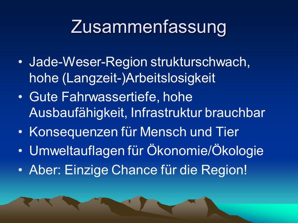 Zusammenfassung Jade-Weser-Region strukturschwach, hohe (Langzeit-)Arbeitslosigkeit Gute Fahrwassertiefe, hohe Ausbaufähigkeit, Infrastruktur brauchbar Konsequenzen für Mensch und Tier Umweltauflagen für Ökonomie/Ökologie Aber: Einzige Chance für die Region!