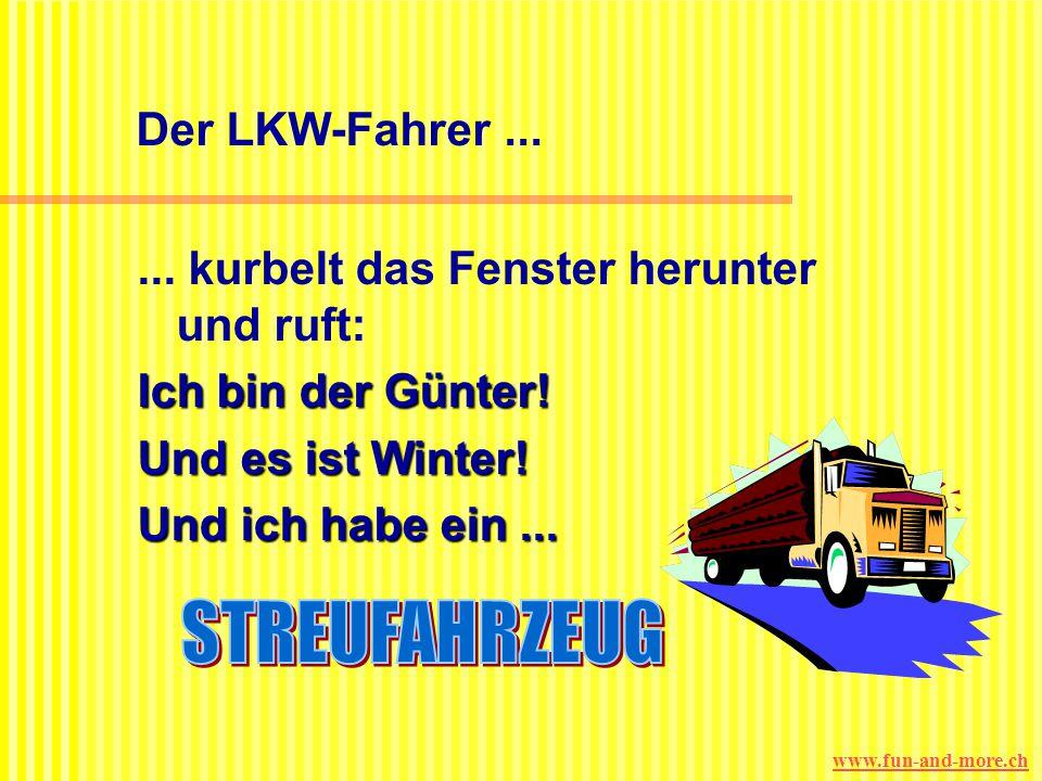 www.fun-and-more.ch Der LKW-Fahrer...... schüttelt nur den Kopf und fährt weiter. An der dritten Ampel: Die Blondine hüpft aus ihrem PKW, trommelt an