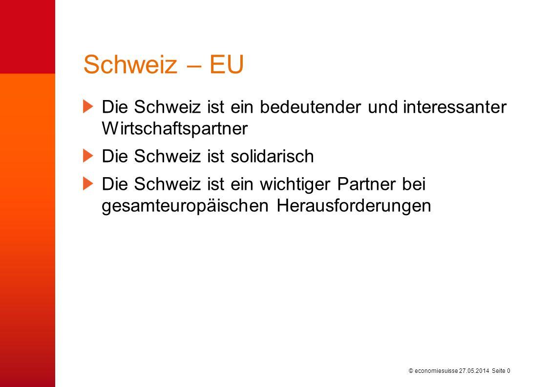 © economiesuisse Schweiz – EU Die Schweiz ist ein bedeutender und interessanter Wirtschaftspartner Die Schweiz ist solidarisch Die Schweiz ist ein wic