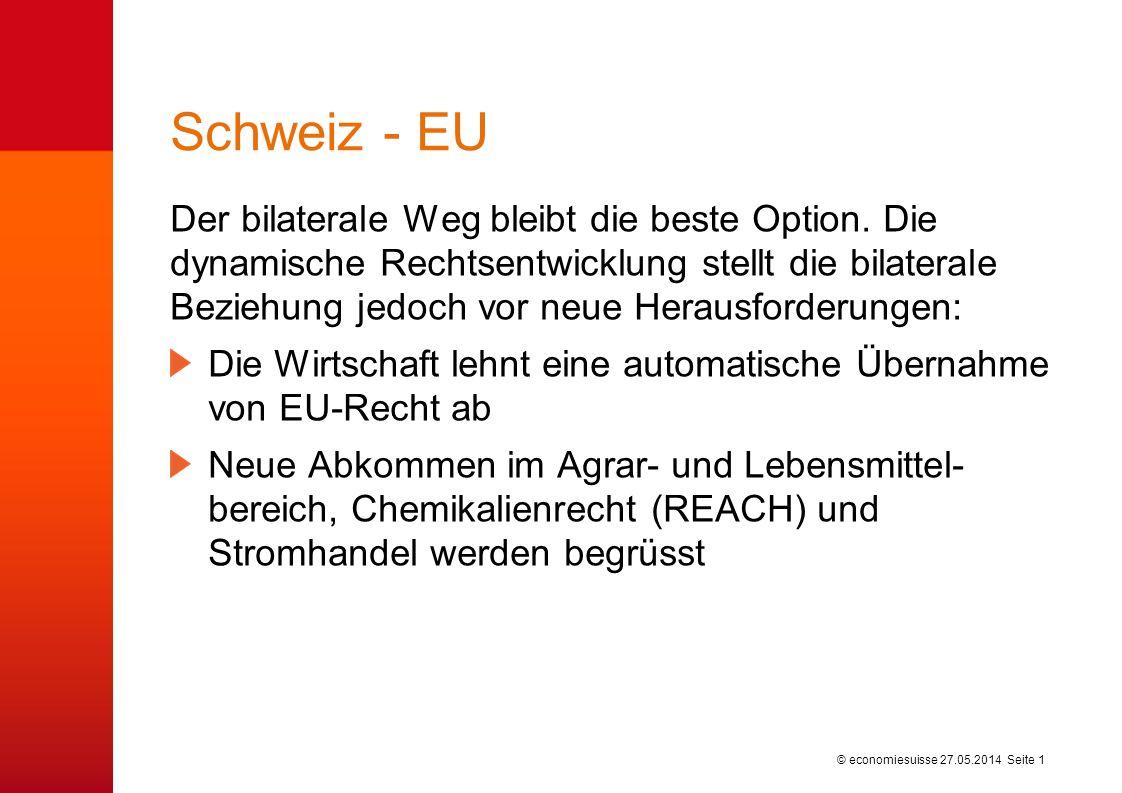© economiesuisse Schweiz - EU Der bilaterale Weg bleibt die beste Option. Die dynamische Rechtsentwicklung stellt die bilaterale Beziehung jedoch vor