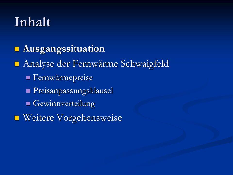 Meilensteine 1999: Versorgung Schwaigfeld mit Fernwärme aus ölbefeuertem Blockheizkraftwerk 1999: Versorgung Schwaigfeld mit Fernwärme aus ölbefeuertem Blockheizkraftwerk 1999: Verträge über Fernwärmebezug mit einer Laufzeit von 10 Jahren 1999: Verträge über Fernwärmebezug mit einer Laufzeit von 10 Jahren 31.10.2000: Gutachten zur Fernwärmeversorgung im Schwaigfeld durch MEA (Münchner Energie Agentur) 31.10.2000: Gutachten zur Fernwärmeversorgung im Schwaigfeld durch MEA (Münchner Energie Agentur) 8.2.2001: Gründung BüSch.
