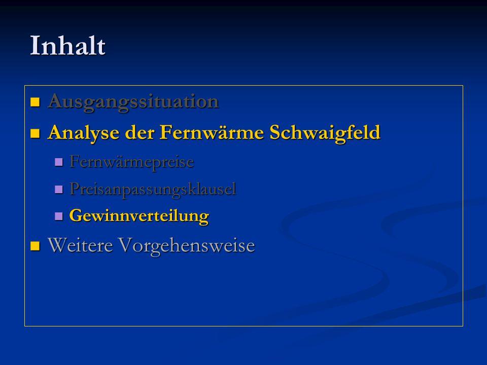 Inhalt Ausgangssituation Ausgangssituation Analyse der Fernwärme Schwaigfeld Analyse der Fernwärme Schwaigfeld Fernwärmepreise Fernwärmepreise Preisan