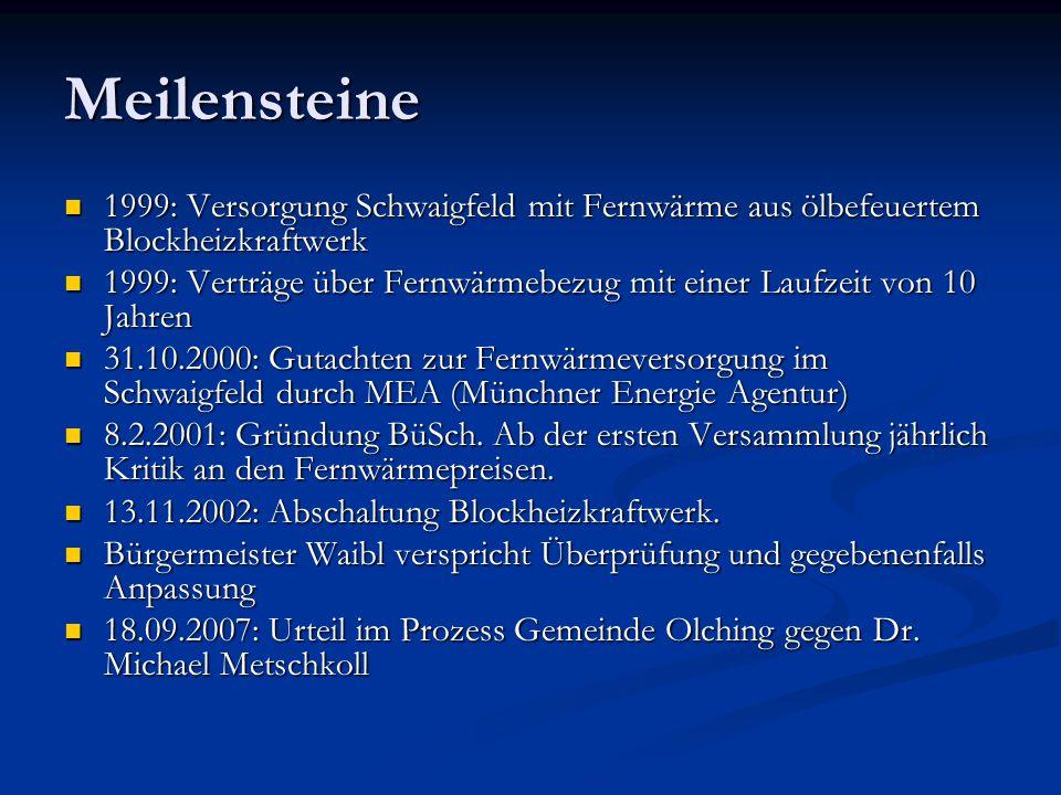 Meilensteine 1999: Versorgung Schwaigfeld mit Fernwärme aus ölbefeuertem Blockheizkraftwerk 1999: Versorgung Schwaigfeld mit Fernwärme aus ölbefeuerte