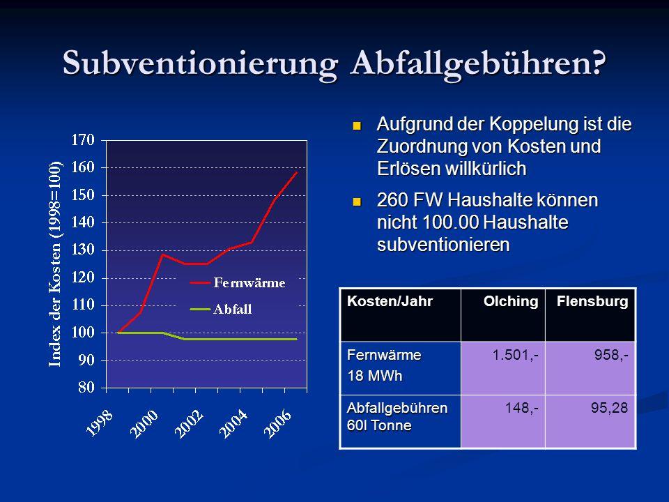 Subventionierung Abfallgebühren? Aufgrund der Koppelung ist die Zuordnung von Kosten und Erlösen willkürlich Aufgrund der Koppelung ist die Zuordnung