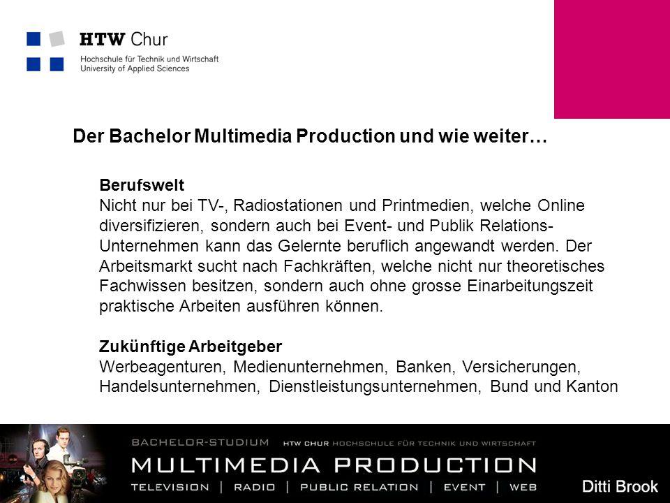 11 Der Bachelor Multimedia Production und wie weiter… Berufswelt Nicht nur bei TV-, Radiostationen und Printmedien, welche Online diversifizieren, son