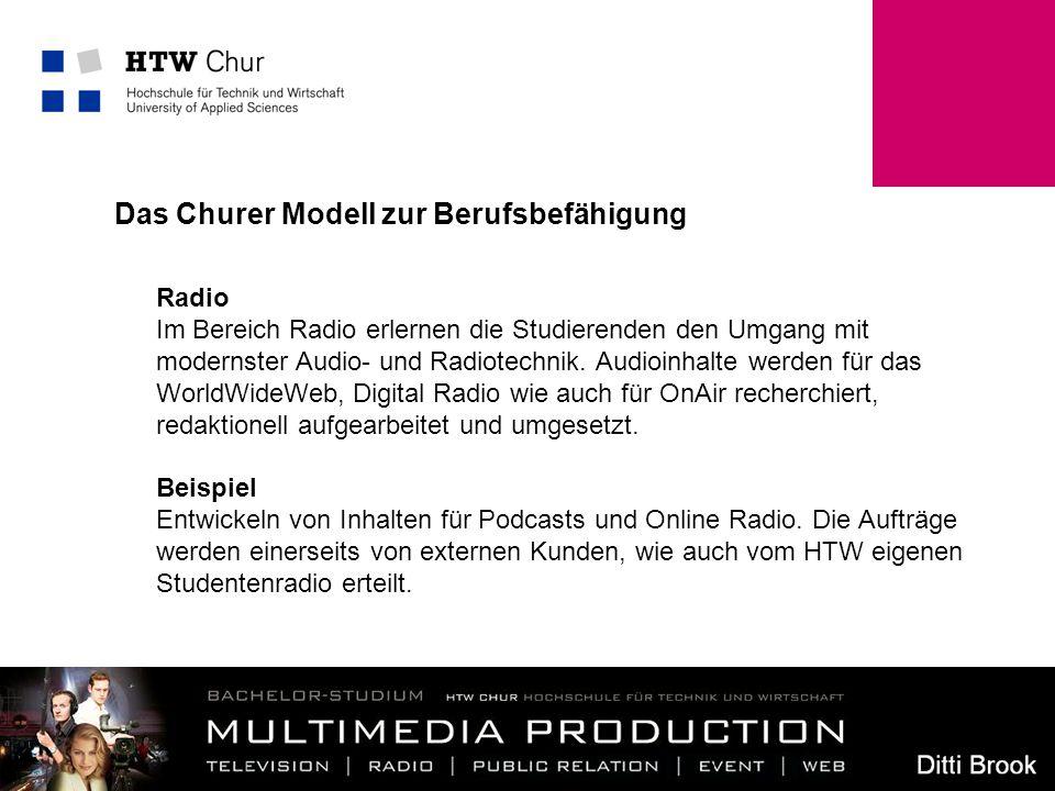 7 Radio Im Bereich Radio erlernen die Studierenden den Umgang mit modernster Audio- und Radiotechnik. Audioinhalte werden für das WorldWideWeb, Digita