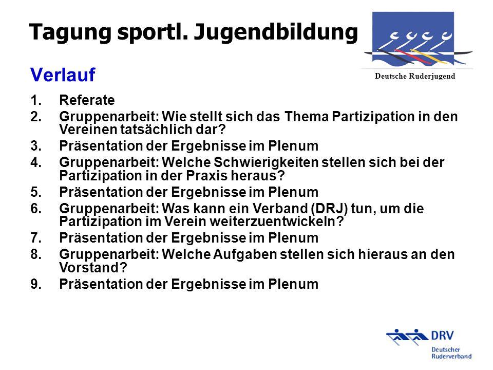 Gruppenarbeit 1 Wie stellt sich das Thema Partizipation in den Vereinen tatsächlich dar.