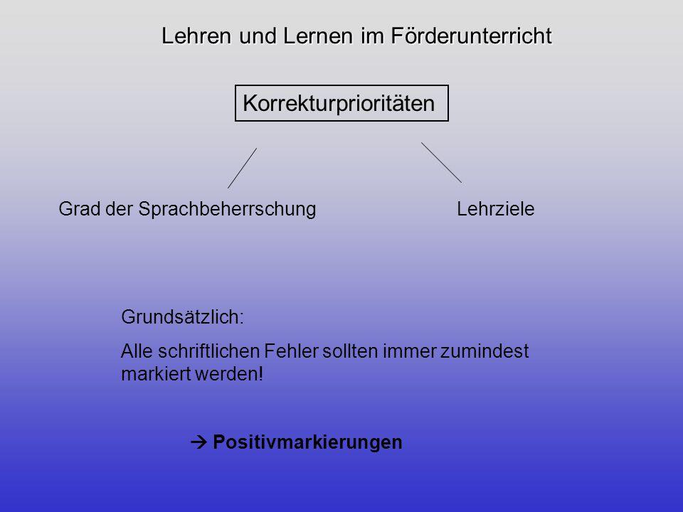 Lehren und Lernen im Förderunterricht Ausgewählte Korrekturmöglichkeiten Die einfache Fehlermarkierung -Wo kommen Fehler im Text vor.