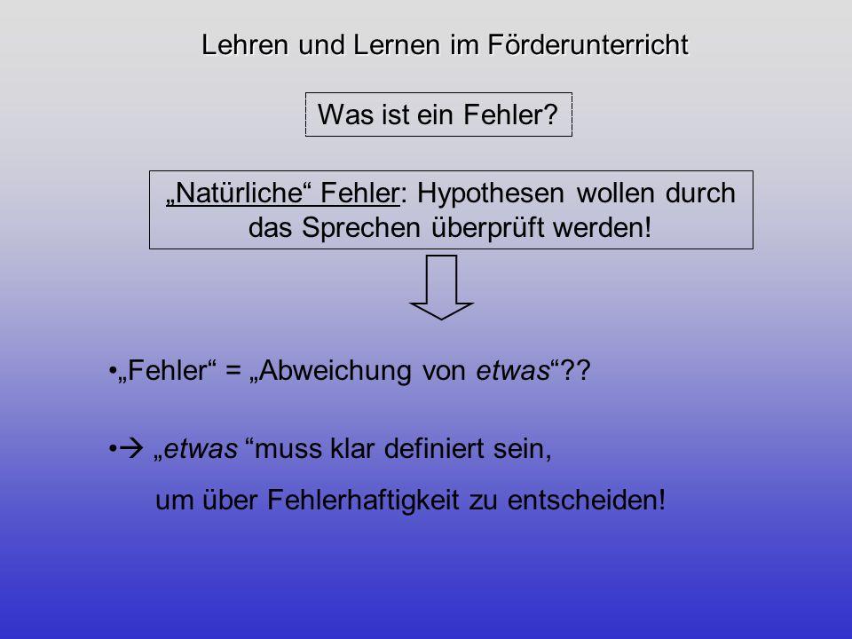 Lehren und Lernen im Förderunterricht 5 Kriterien zur Fehleridentifikation und -definition: Verschiedene Blickwinkel.