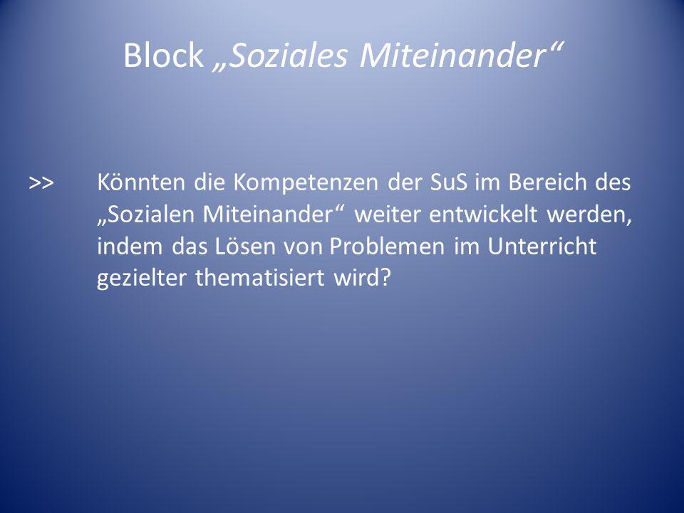 Block Soziales Miteinander >>Könnten die Kompetenzen der SuS im Bereich des Sozialen Miteinander weiter entwickelt werden, indem das Lösen von Problem