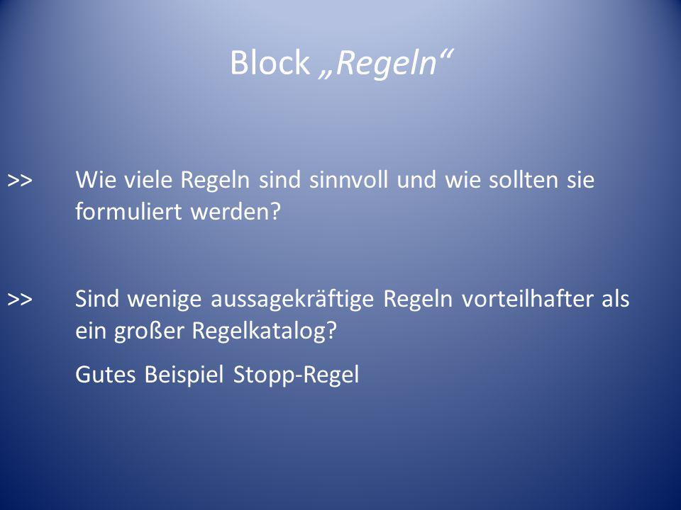 Block Regeln >>Wie viele Regeln sind sinnvoll und wie sollten sie formuliert werden? >>Sind wenige aussagekräftige Regeln vorteilhafter als ein großer