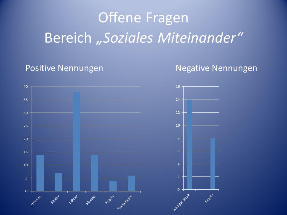 Offene Fragen Positive NennungenNegative Nennungen Bereich Soziales Miteinander