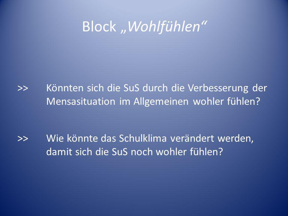 Block Wohlfühlen >> Könnten sich die SuS durch die Verbesserung der Mensasituation im Allgemeinen wohler fühlen? >>Wie könnte das Schulklima verändert