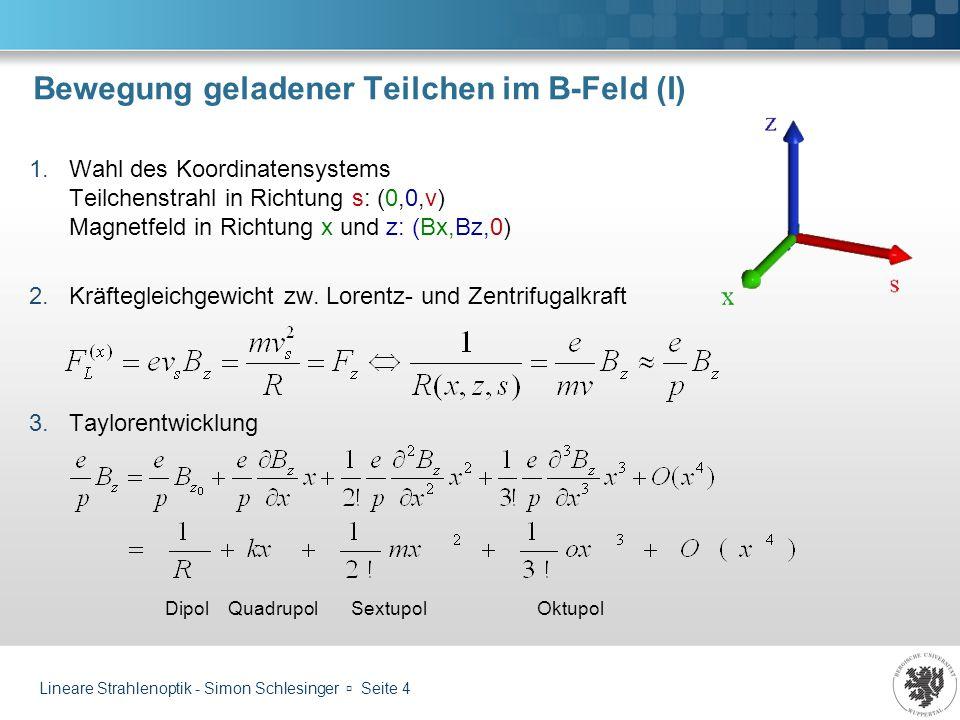 Lineare Strahlenoptik - Simon Schlesinger Seite 5 Bewegung geladener Teilchen im B-Feld (II) 1.Setze Ursprung des Koordinatensystems auf Orbit und führe Zylinderkoordinaten ein: 2.Zeitliche Ableitungen der Einheitsvektoren: 3.Linearkombination: Mit Aufpunkt, für den gilt: