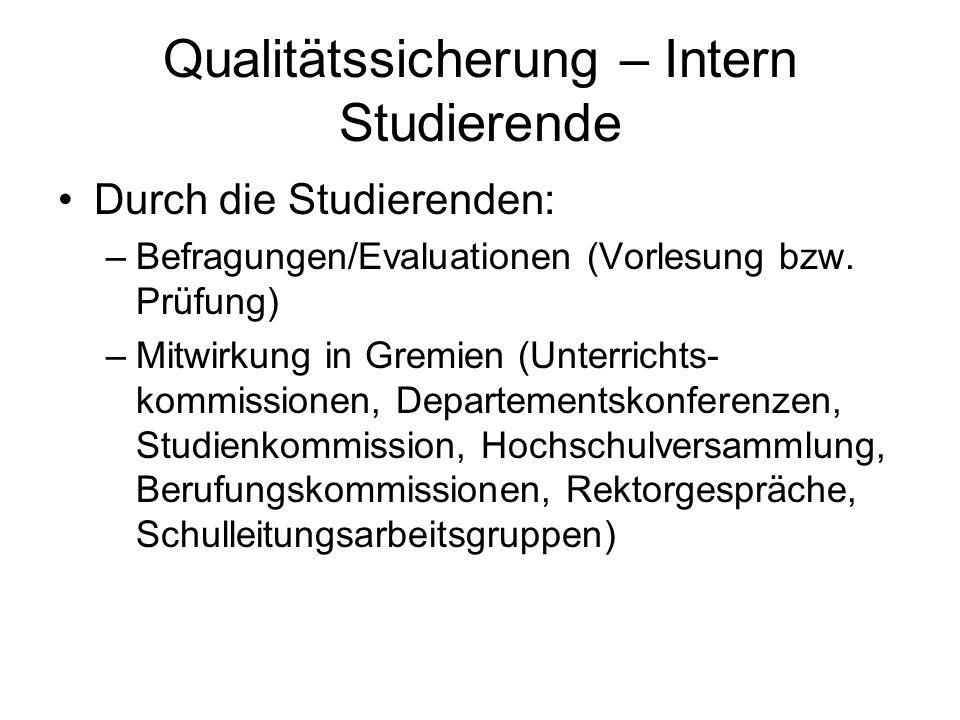 Qualitätssicherung – Intern Studierende Durch die Studierenden: –Befragungen/Evaluationen (Vorlesung bzw. Prüfung) –Mitwirkung in Gremien (Unterrichts