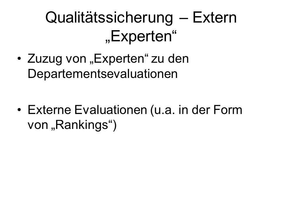 Qualitätssicherung – Extern Experten Zuzug von Experten zu den Departementsevaluationen Externe Evaluationen (u.a. in der Form von Rankings)