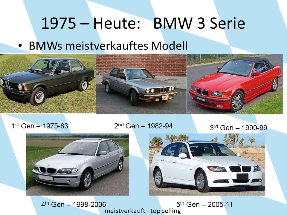 1975 – Heute: BMW 3 Serie BMWs meistverkauftes Modell 1 st Gen – 1975-832 nd Gen – 1982-94 3 rd Gen – 1990-99 4 th Gen – 1998-20065 th Gen – 2005-11 m