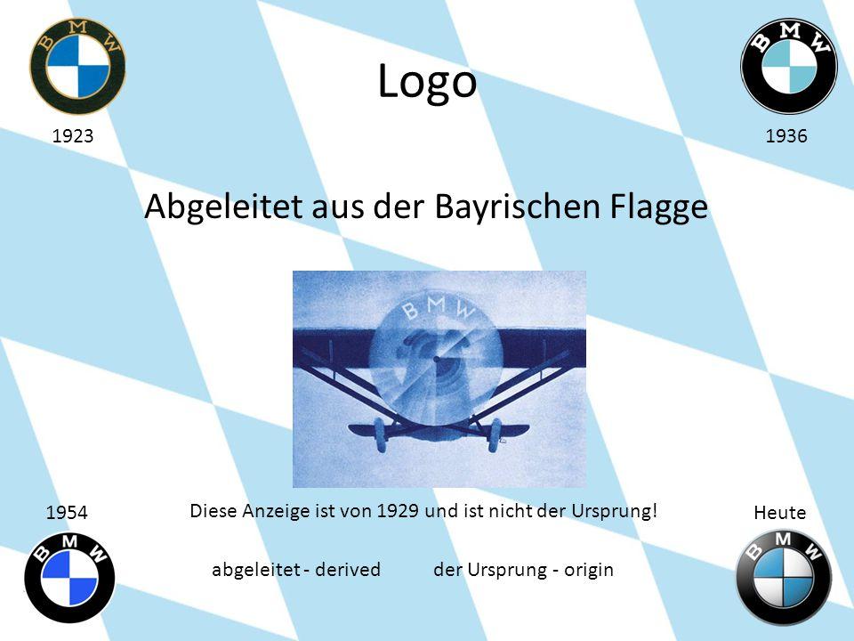 Logo Abgeleitet aus der Bayrischen Flagge 19231936 1954Heute Diese Anzeige ist von 1929 und ist nicht der Ursprung! abgeleitet - derived der Ursprung