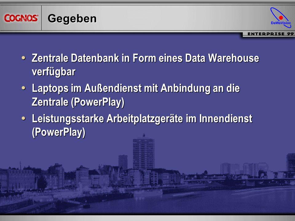 Gegeben Zentrale Datenbank in Form eines Data Warehouse verfügbar Zentrale Datenbank in Form eines Data Warehouse verfügbar Laptops im Außendienst mit