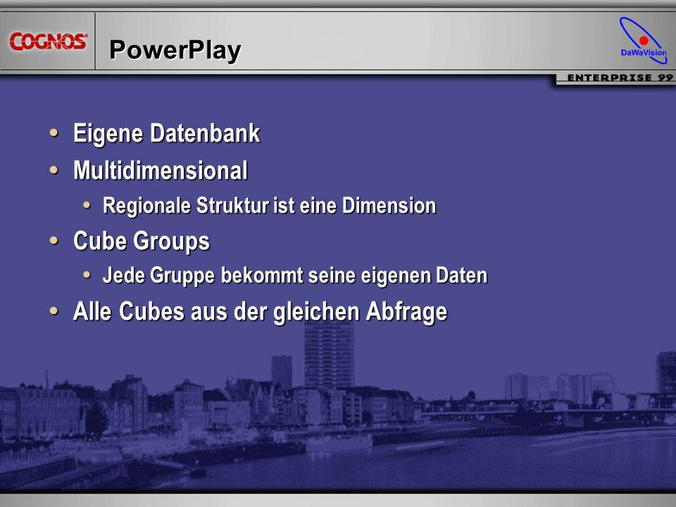 PowerPlay Eigene Datenbank Eigene Datenbank Multidimensional Multidimensional Regionale Struktur ist eine Dimension Regionale Struktur ist eine Dimens
