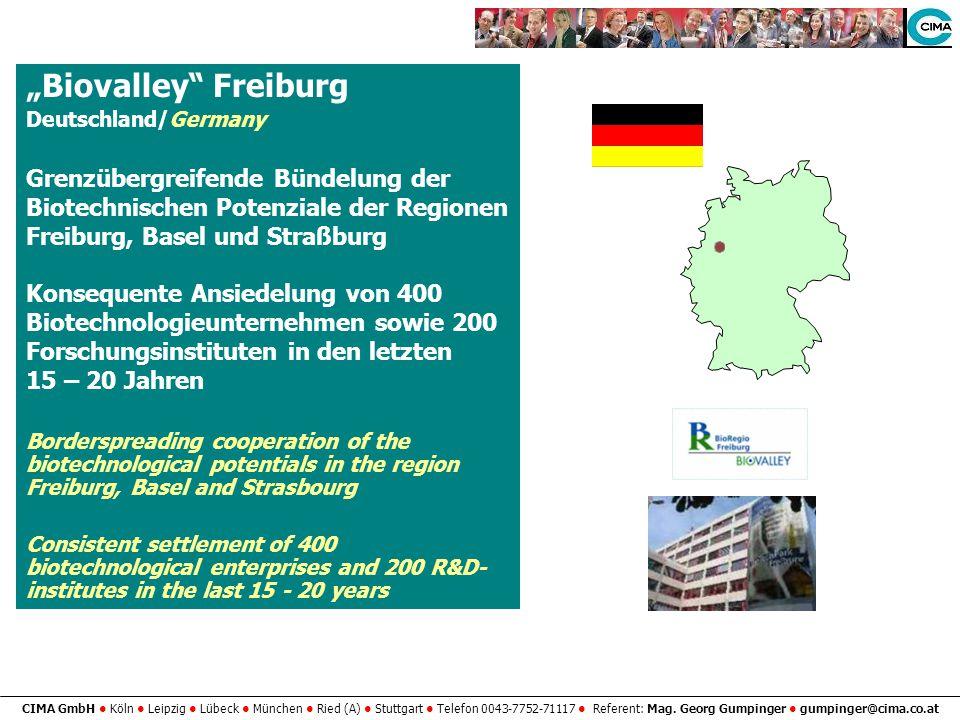 CIMA GmbH Köln Leipzig Lübeck München Ried (A) Stuttgart Telefon 0043-7752-71117 Referent: Mag. Georg Gumpinger gumpinger@cima.co.at Biovalley Freibur