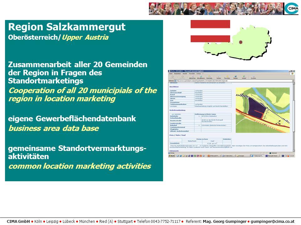 CIMA GmbH Köln Leipzig Lübeck München Ried (A) Stuttgart Telefon 0043-7752-71117 Referent: Mag. Georg Gumpinger gumpinger@cima.co.at Region Salzkammer