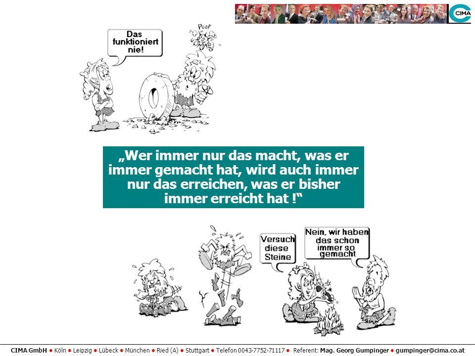 CIMA GmbH Köln Leipzig Lübeck München Ried (A) Stuttgart Telefon 0043-7752-71117 Referent: Mag. Georg Gumpinger gumpinger@cima.co.at Wer immer nur das