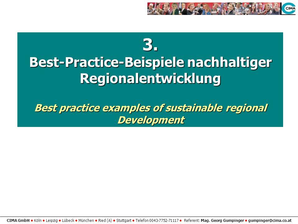 CIMA GmbH Köln Leipzig Lübeck München Ried (A) Stuttgart Telefon 0043-7752-71117 Referent: Mag. Georg Gumpinger gumpinger@cima.co.at 3. Best-Practice-