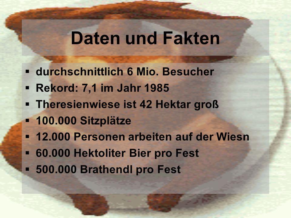 Daten und Fakten durchschnittlich 6 Mio. Besucher Rekord: 7,1 im Jahr 1985 Theresienwiese ist 42 Hektar groß 100.000 Sitzplätze 12.000 Personen arbeit