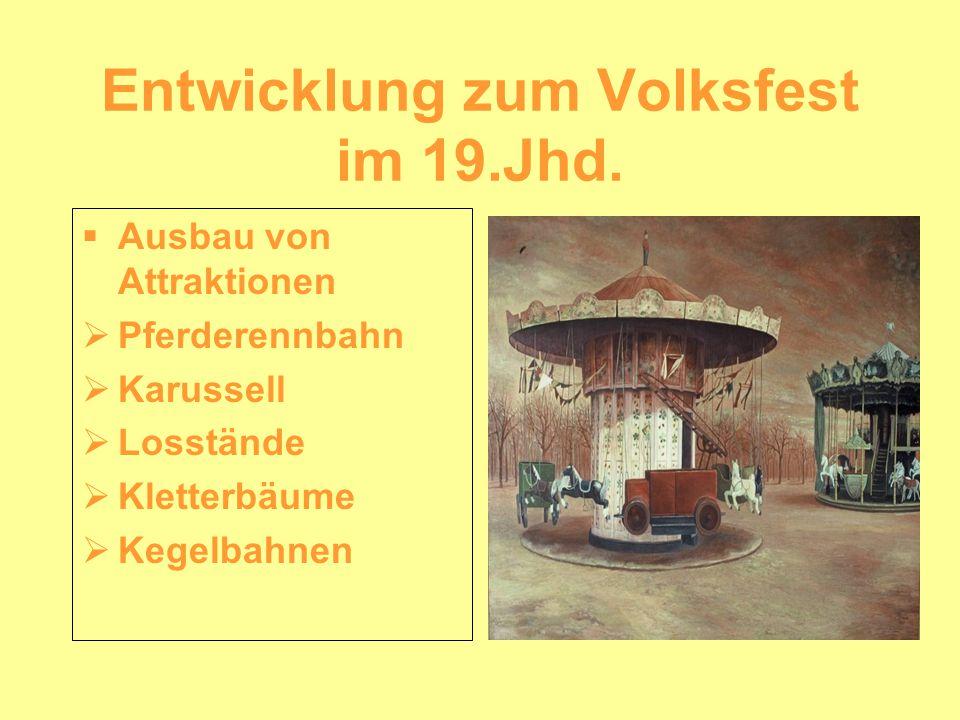 Entwicklung zum Volksfest im 19.Jhd. Ausbau von Attraktionen Pferderennbahn Karussell Losstände Kletterbäume Kegelbahnen