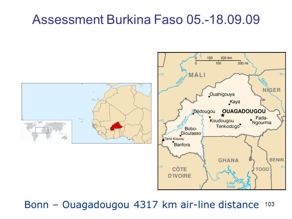 103 Assessment Burkina Faso 05.-18.09.09 Bonn – Ouagadougou 4317 km air-line distance