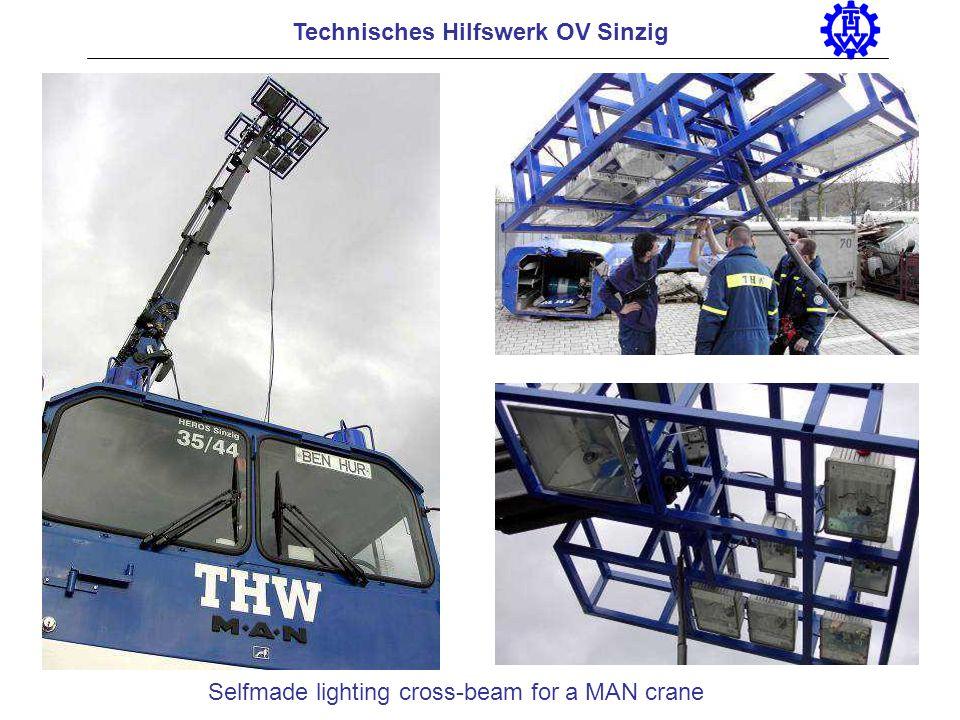 Selfmade lighting cross-beam for a MAN crane