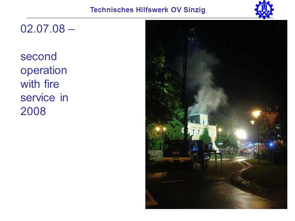 Technisches Hilfswerk OV Sinzig 02.07.08 – second operation with fire service in 2008