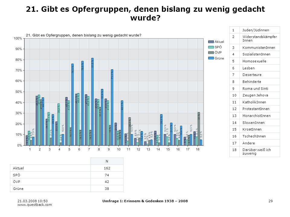 21.03.2008 10:50 www.questback.com Umfrage 1: Erinnern & Gedenken 1938 – 200829 21.