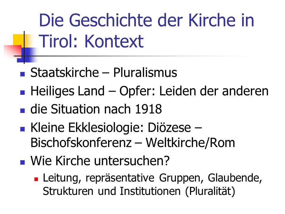 Die Geschichte der Kirche in Tirol: Kontext Staatskirche – Pluralismus Heiliges Land – Opfer: Leiden der anderen die Situation nach 1918 Kleine Ekkles