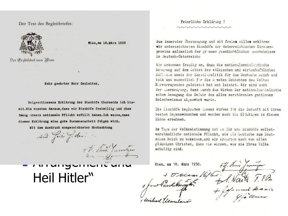 Die Kirche und der Anschluss 1938 Vor 1938: Klare Verurteilung (wie in D vor 1933: Exkommunikation) 1933: Konkordat und Illusionen 1937: Mit brennende