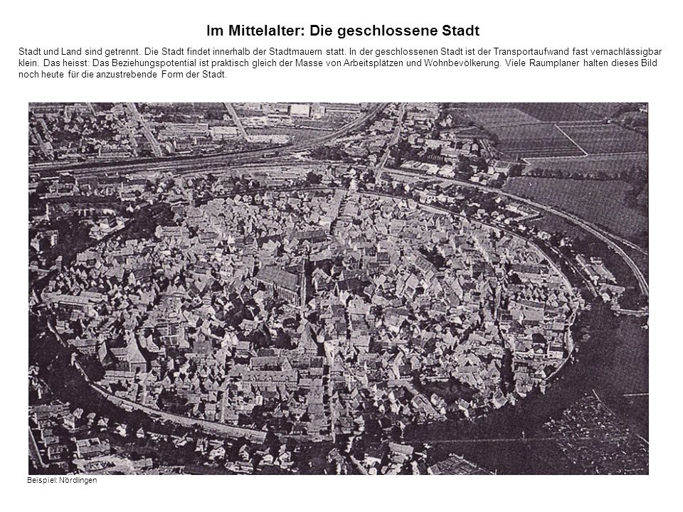 Im Mittelalter: Die geschlossene Stadt Stadt und Land sind getrennt.